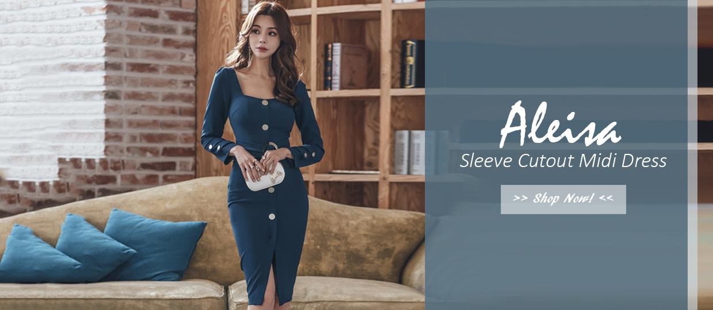 Aleisa Sleeve Cutout Midi Dress