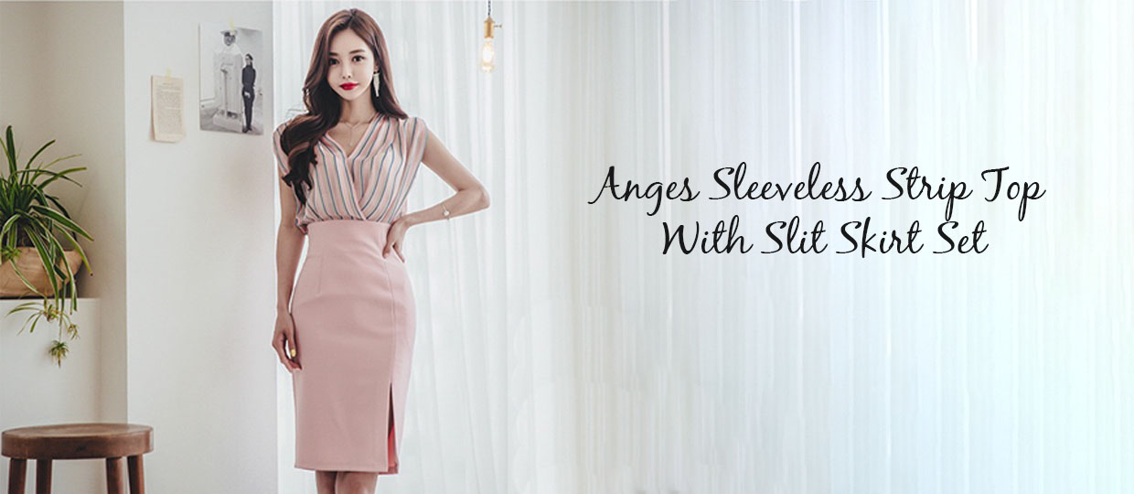 Anges Sleeveless Strip Top With Slit Skirt Set