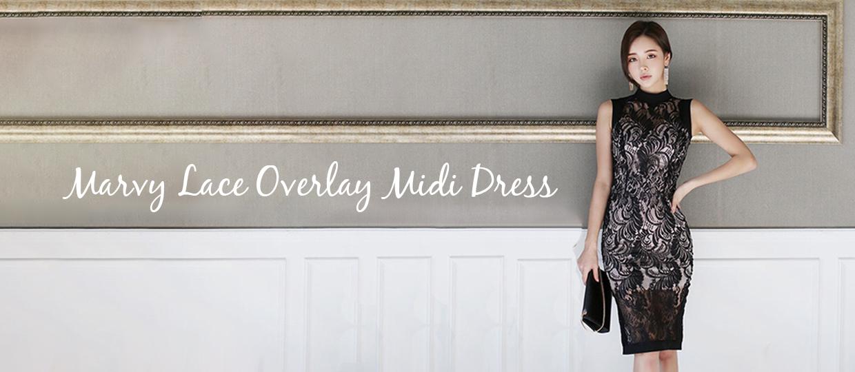 Marvy Lace Overlay Midi Dress