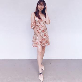 Kaslyn Floral Crochet Cold Shoulder Dress