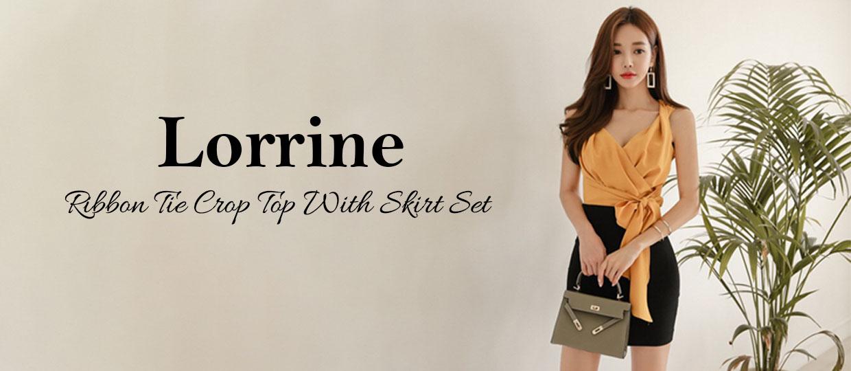 Lorrine Ribbon Tie Crop Top With Skirt Set