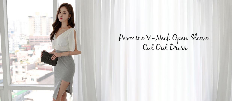 Paverine V-Neck Open Sleeve  Cut Out Dress