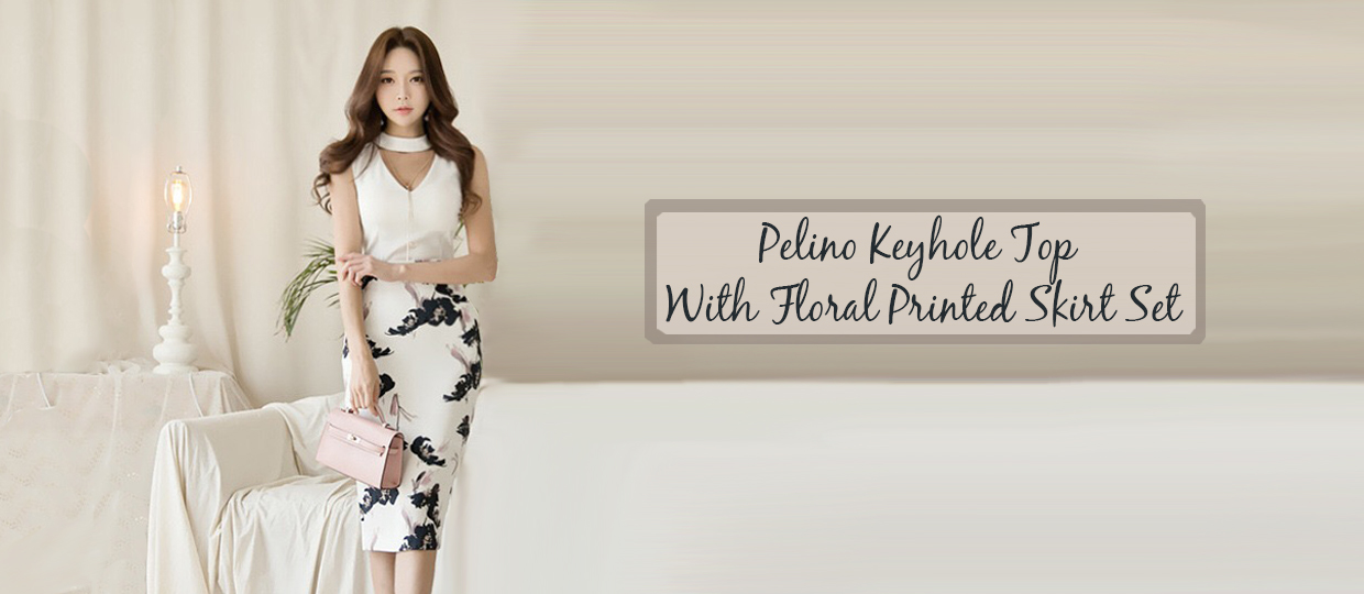 Pelino Keyhole Top  With Floral Printed Skirt Set