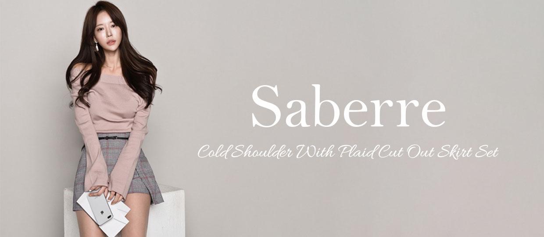 Saberre Cold Shoulder With Plaid Cut Out Skirt Set