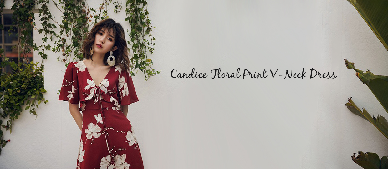 Candice Floral Print V-Neck Dress