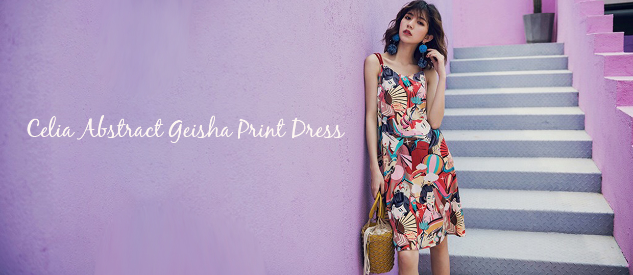 Celia Abstract Geisha Print Dress