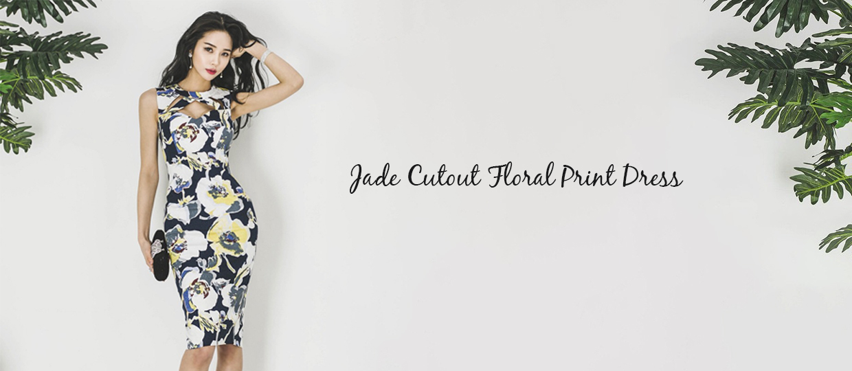 Jade Cutout Floral Print Dress