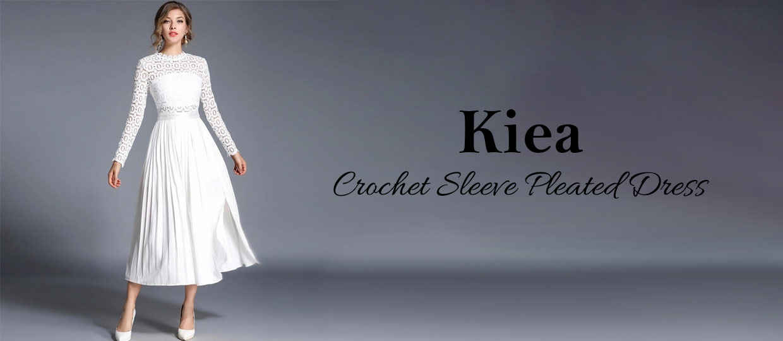 Kiea Crochet Sleeve Pleated Dress