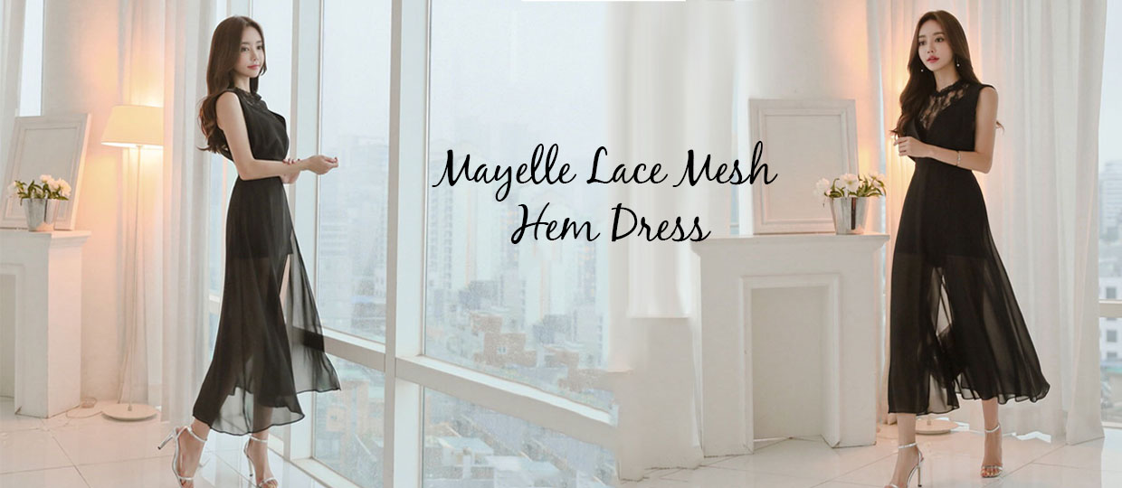 Mayelle Lace Mesh  Hem Dress