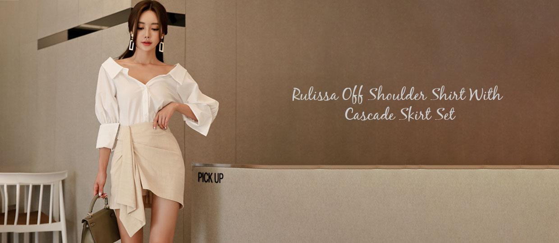Rulissa Off Shoulder Shirt With Cascade Skirt Set
