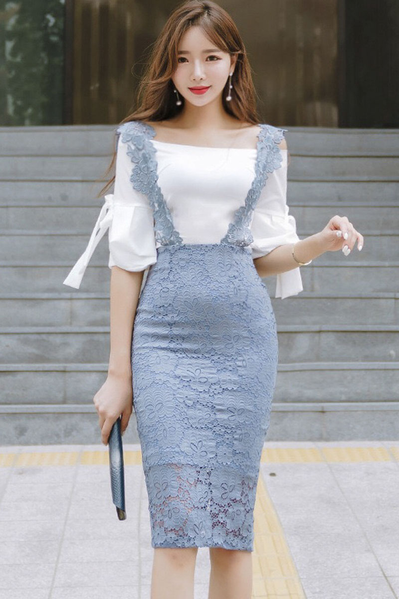 reputation first 100% high quality shoes for cheap BACKORDER - Qerine Off shoulder Top With Lace Pinafore Dress
