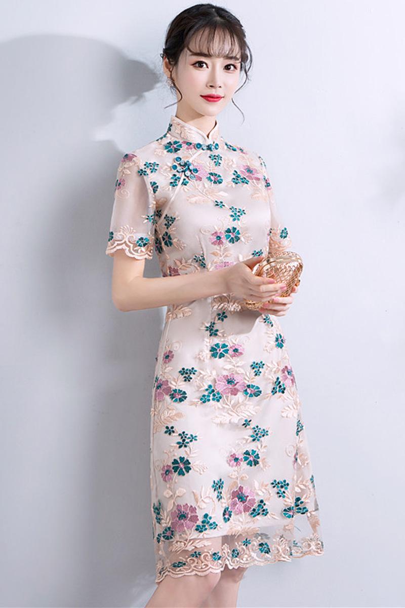 8811ef1cbd BACKORDER - Verini Floral Lace Overlay A-Line Cheongsam Dress | I.Silhouette